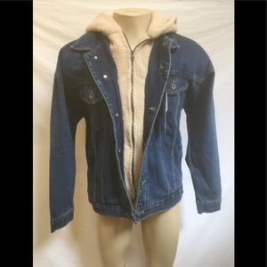 NWT Zara Man Size XL Denim Jacket With Sherpa Hood